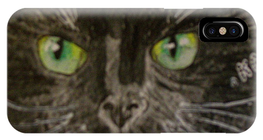 Halloween IPhone Case featuring the painting Halloween Black Cat I by Kathy Marrs Chandler