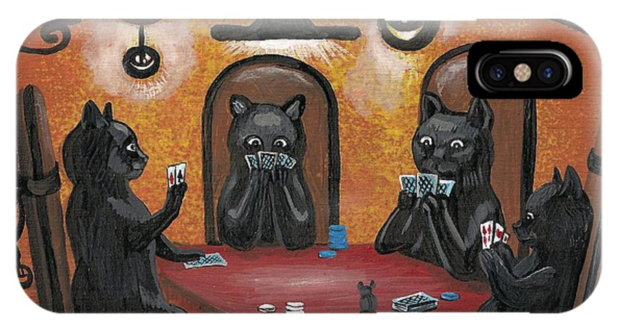 Print IPhone X / XS Case featuring the painting Halloween Hold Em by Margaryta Yermolayeva