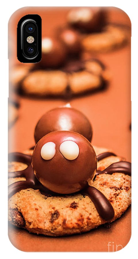 Spiders IPhone X Case featuring the photograph Halloween Homemade Cookie Spiders by Jorgo Photography - Wall Art Gallery