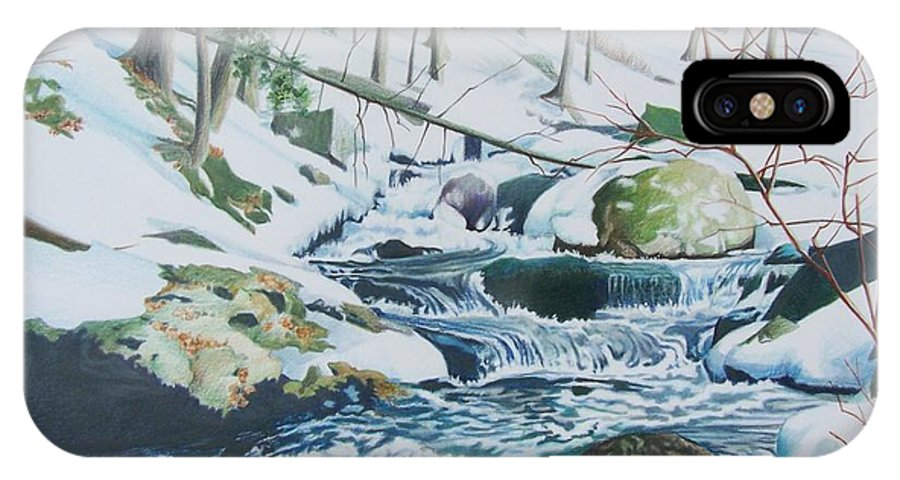 Snow IPhone X Case featuring the mixed media Hamburg Mountain Stream by Constance Drescher