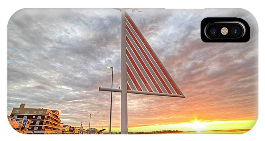 Hampton IPhone X / XS Case featuring the photograph Hampton Beach Sunrise Hampton Beach State Park Hampton Nh Flag by Toby McGuire
