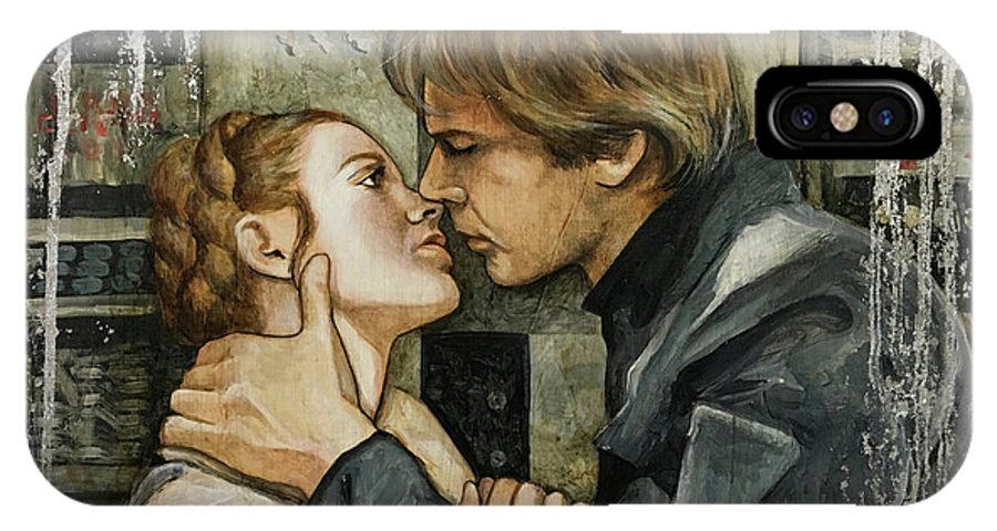 Star Wars IPhone X Case featuring the painting Han And Leia by Dori Hartley