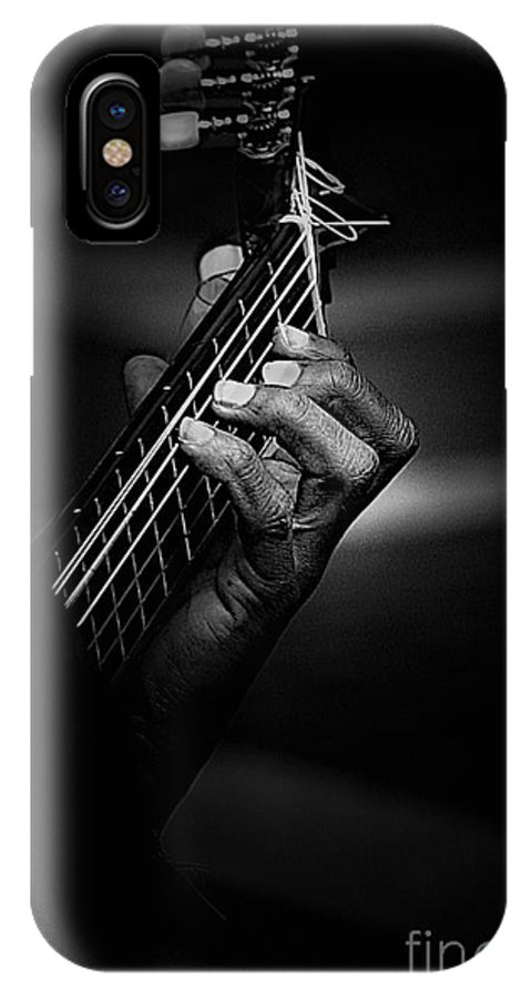 Guitar IPhone X Case featuring the photograph Hand Of A Guitarist In Monochrome by Sheila Smart Fine Art Photography