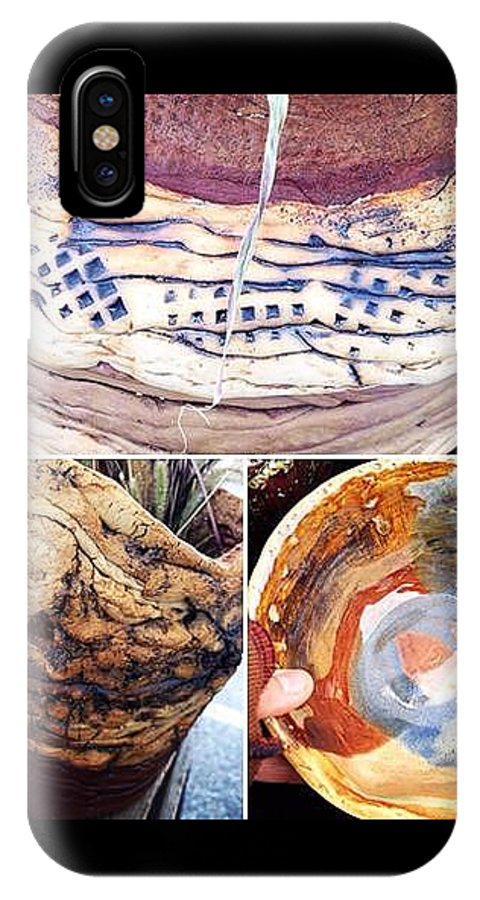Www.pattishonek.com IPhone X Case featuring the painting Handbuilt Clay Coiled Pots by Patti Shonek