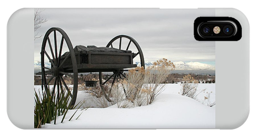 Handcart IPhone X Case featuring the photograph Handcart Monument by Margie Wildblood
