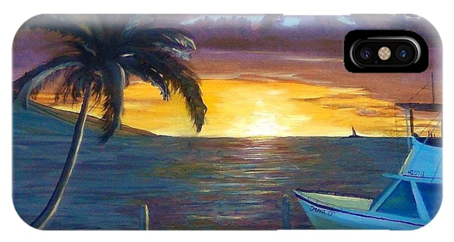 Seascape IPhone X Case featuring the painting Hang Loose Harbor by Ryan Williams