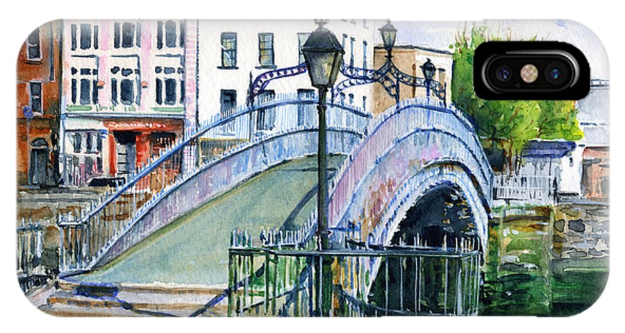 H'penny IPhone X Case featuring the painting Ha'penny Bridge Dublin by John D Benson