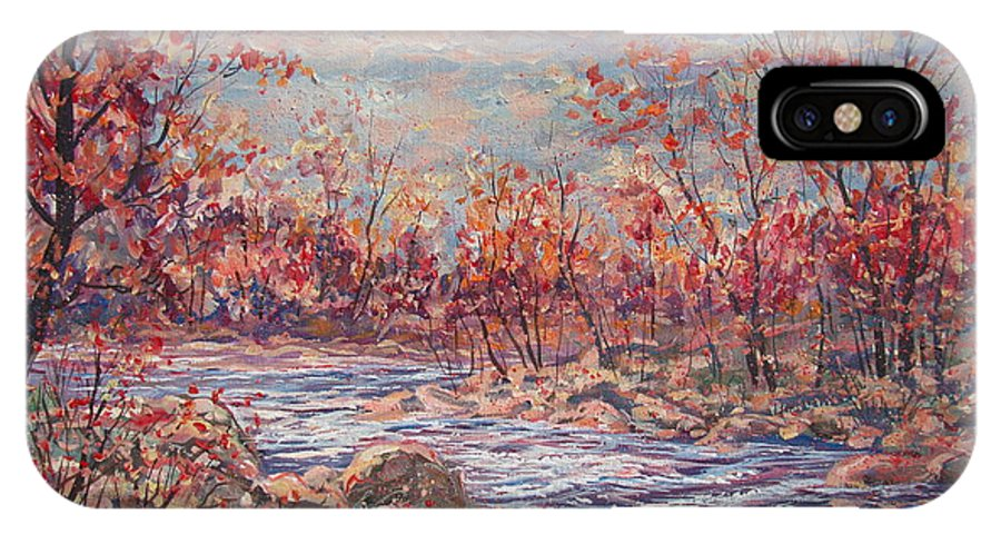 Landscape IPhone X Case featuring the painting Happy Autumn Days. by Leonard Holland