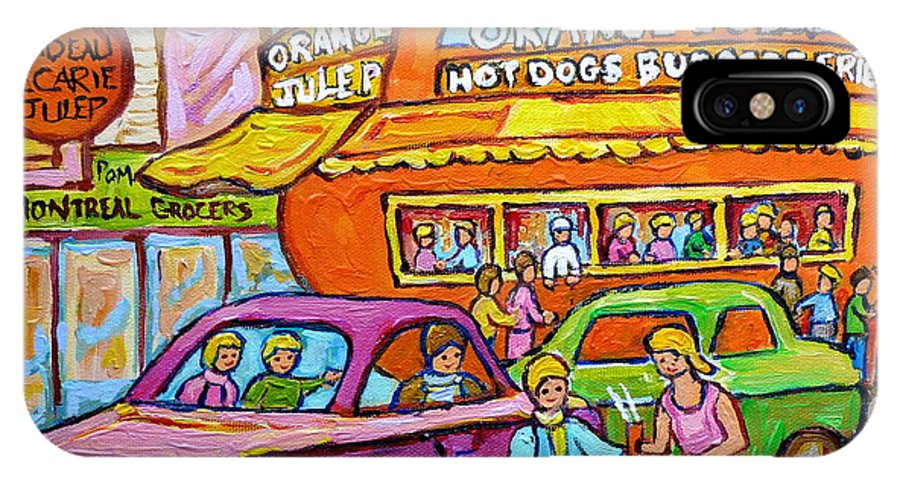 Orange Julep With Classic Cars IPhone X Case featuring the painting Happy Days At The Orange Julep Paintings C Spandau Decarie Strip Montreal Memories Quebec Art    by Carole Spandau