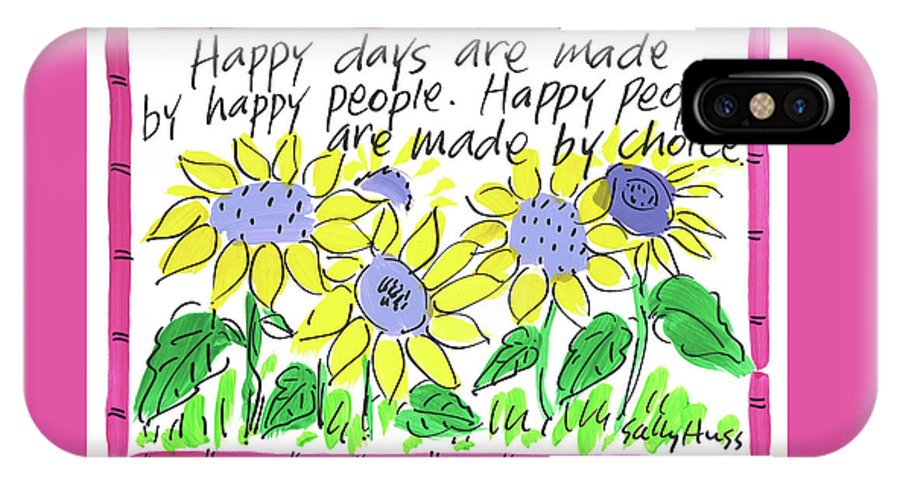 Sunflowers IPhone X Case featuring the painting Happy Days by Sally Huss