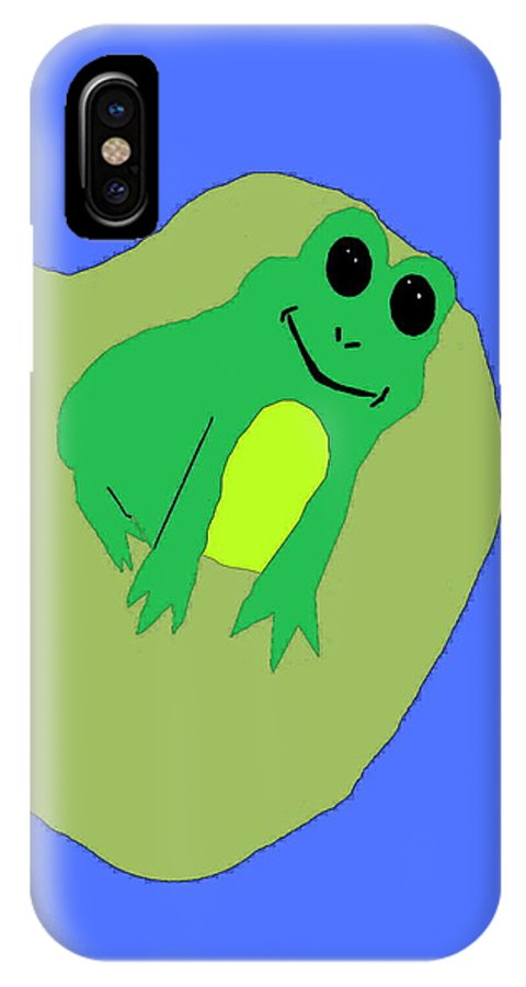 Frog IPhone X Case featuring the digital art Happy Frog by April Patterson