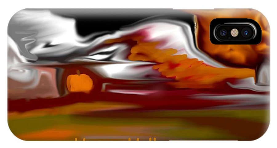 Abstract Digital Painting IPhone X Case featuring the digital art Happy Halloween by David Lane