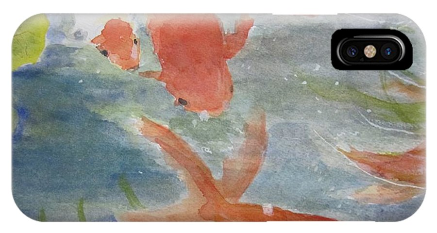 Fish IPhone X Case featuring the painting Happy Koi by Elvira Ingram