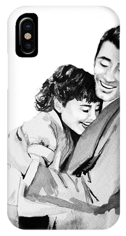 Hug IPhone X Case featuring the painting Happy by Laura Rispoli