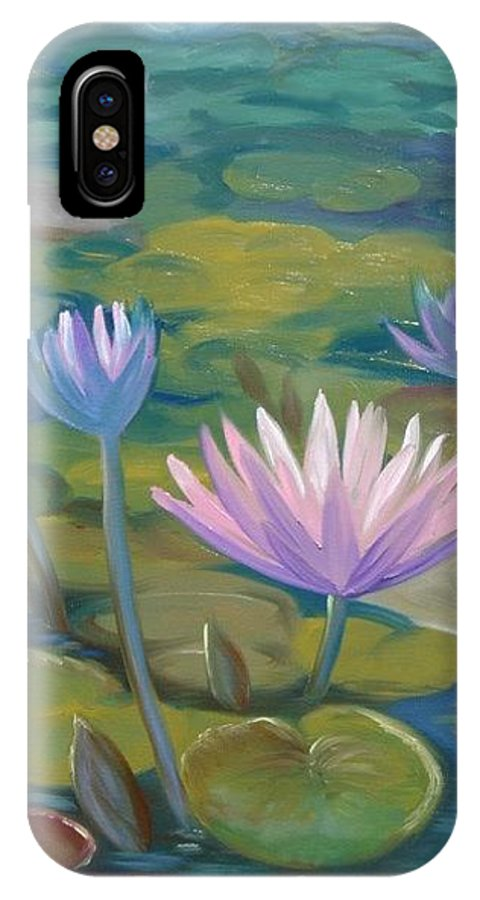 Pond IPhone X Case featuring the painting Happy Lilies by Tan Nguyen