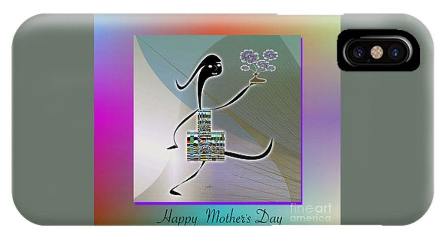 Drawing IPhone X Case featuring the digital art Happy Mother's Day  2 by Iris Gelbart