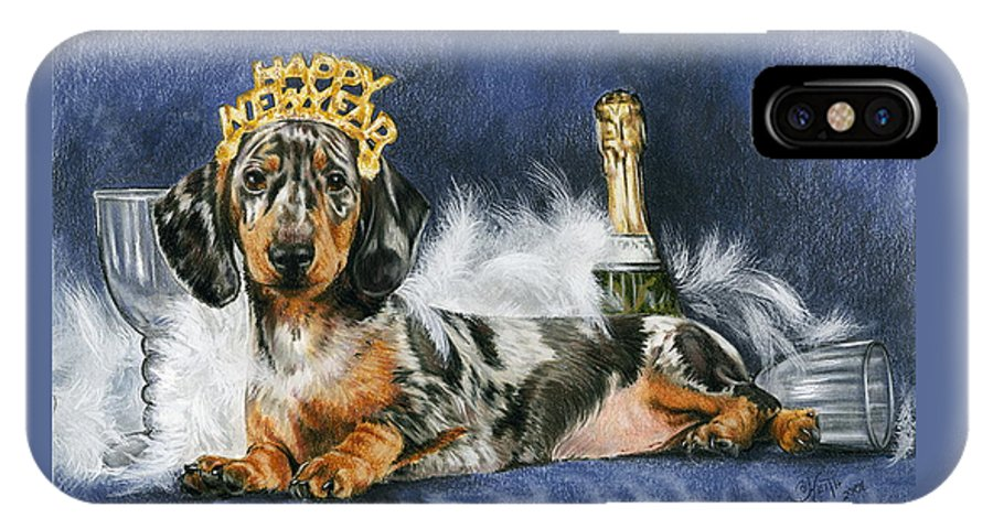 Dog IPhone Case featuring the mixed media Happy New Year by Barbara Keith