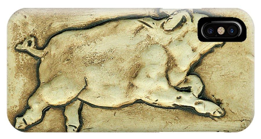 Pig IPhone X Case featuring the ceramic art Happy Pig by Barbara Schmidt