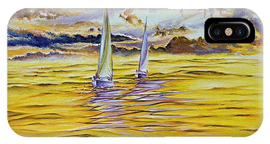 IPhone X Case featuring the painting Happy Sailing by Michel Angelo Rossi