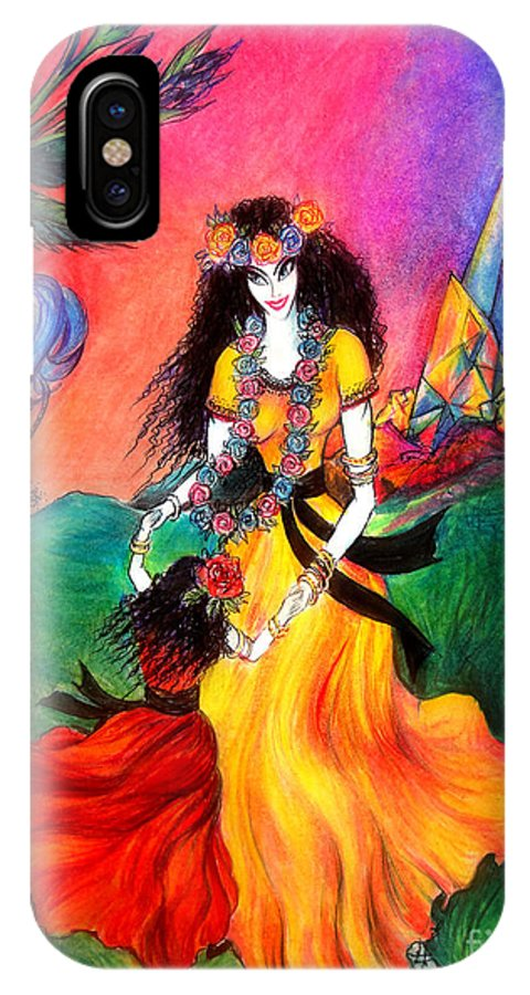 Ameynra IPhone X Case featuring the drawing Happy To Dance. Ameynra And Mother-queen by Sofia Metal Queen