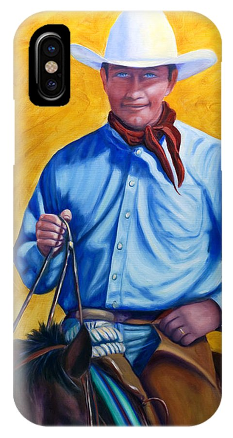 Cowboy IPhone X Case featuring the painting Happy Trails by Shannon Grissom