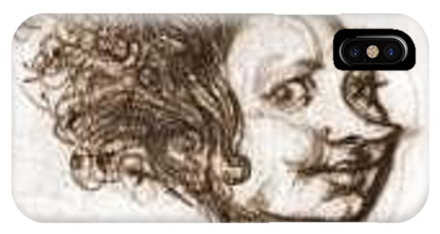 Woman IPhone X Case featuring the drawing Happy Witch by Ralf Bartel