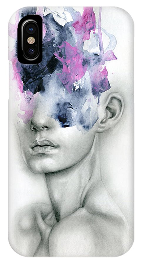 Portrait IPhone X Case featuring the painting Harbinger by Patricia Ariel