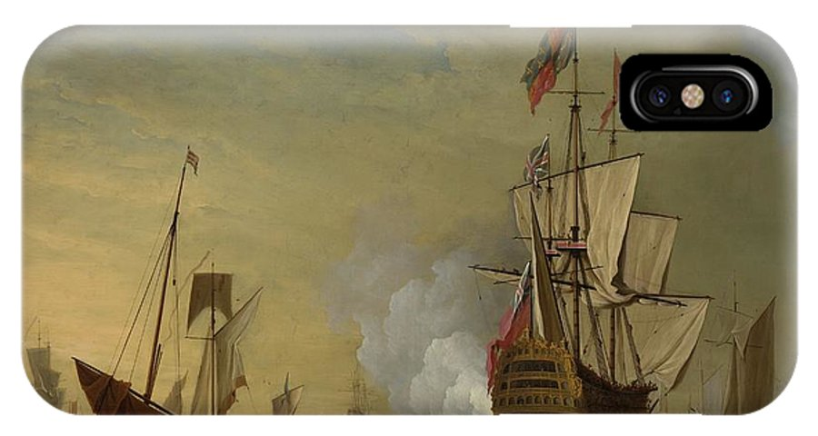 Peter Monamy Harbor Scene An English Ship With Sails Loosened Firing A Gun IPhone X Case featuring the painting Harbor Scene An English Ship With Sails Loosened Firing A Gun by Peter Monamy