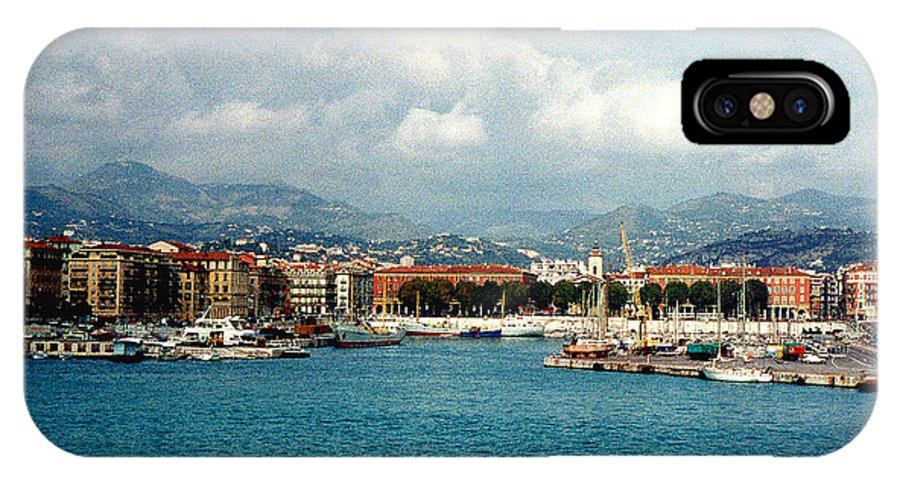 Landscape IPhone X Case featuring the photograph Harbor Scene In Nice France by Nancy Mueller