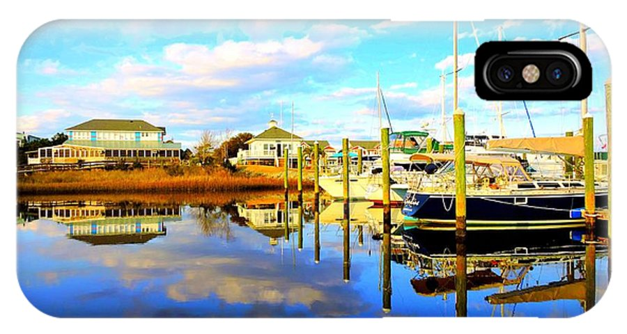 Art IPhone X Case featuring the photograph Harbour Reflections by Shelia Kempf