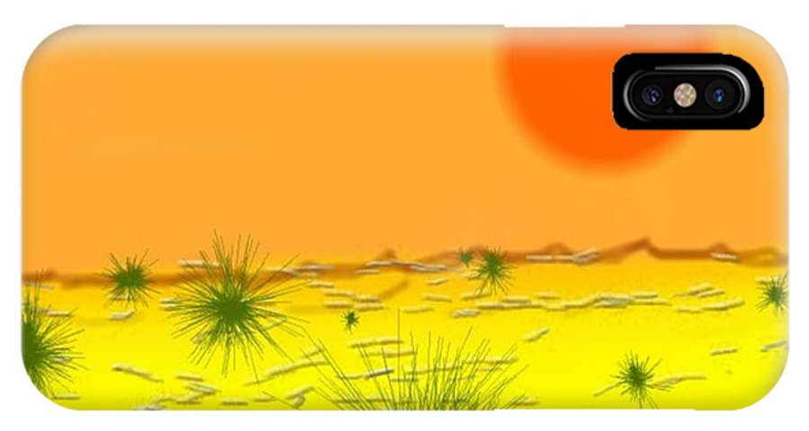Sky.sun.desert.sand.heat.rare Bushes Of The Prickle.dust.dry. IPhone X Case featuring the digital art Hard Sun Of Desert by Dr Loifer Vladimir