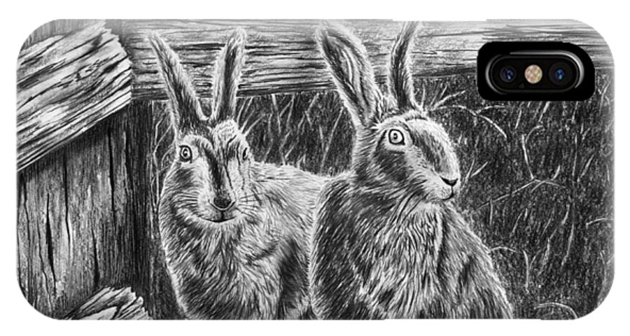 Hare Line IPhone X Case featuring the drawing Hare Line by Peter Piatt