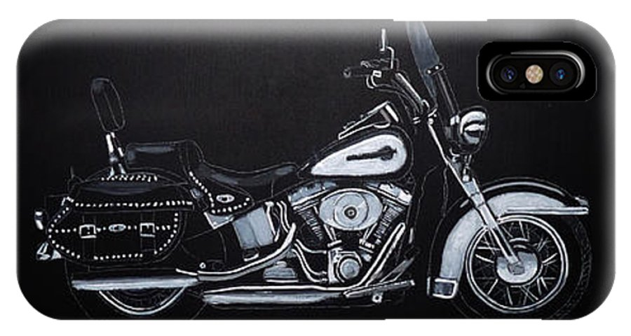 Bike IPhone X Case featuring the painting Harley Davidson Snap-on by Richard Le Page