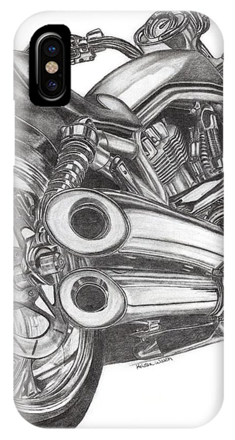 Harley Davidson IPhone X Case featuring the drawing Harley by Kristen Wesch