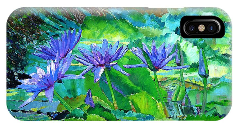 Purple Water Lilies IPhone X Case featuring the painting Harmony Of Purple And Green by John Lautermilch
