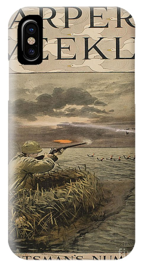 Broughton IPhone X / XS Case featuring the painting Harper's Weekly. Sportsman's Number by Celestial Images