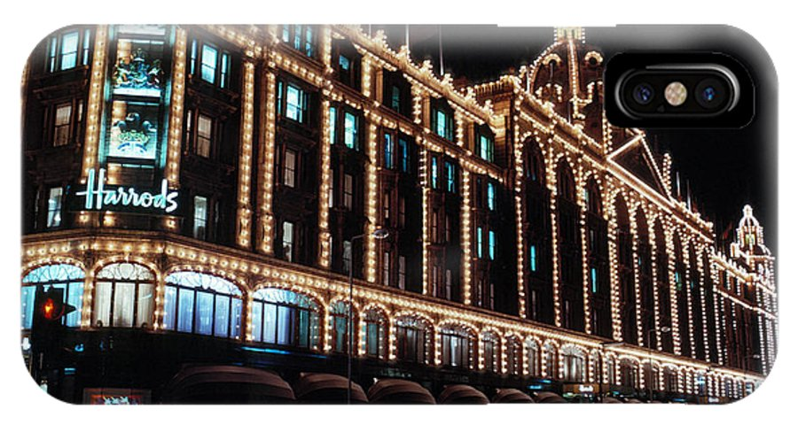 Christmas IPhone X Case featuring the photograph Harrods In London by Carl Purcell