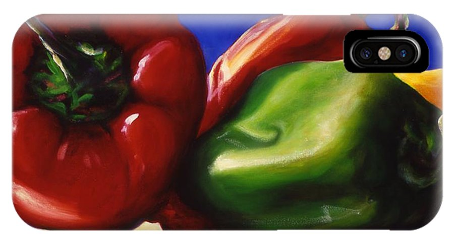 Still Life IPhone X Case featuring the painting Harvest Festival Peppers by Shannon Grissom