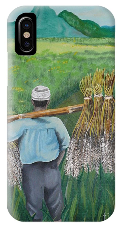 Landscape IPhone X Case featuring the painting Harvest by Kris Crollard