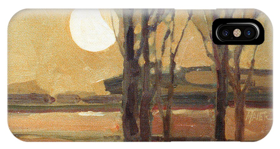Sunset IPhone X Case featuring the painting Harvest Moon by Donald Maier