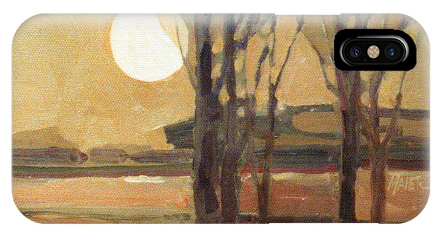 Sunset IPhone Case featuring the painting Harvest Moon by Donald Maier
