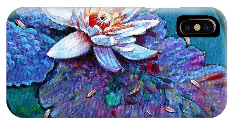 Water Lily IPhone Case featuring the painting Harvest Moon by John Lautermilch