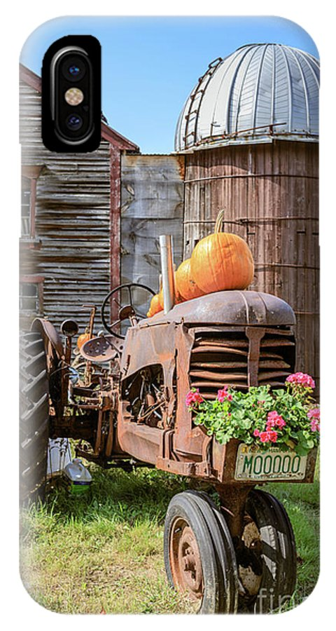 Tractor IPhone X Case featuring the photograph Harvest Time Vintage Farm With Pumpkins by Edward Fielding