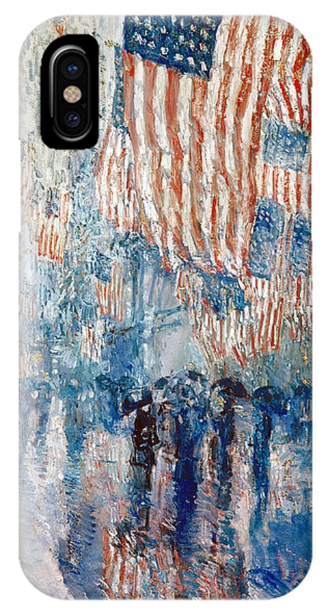 1917 IPhone X Case featuring the painting Avenue In The Rain, 1917 by Childe Hassam