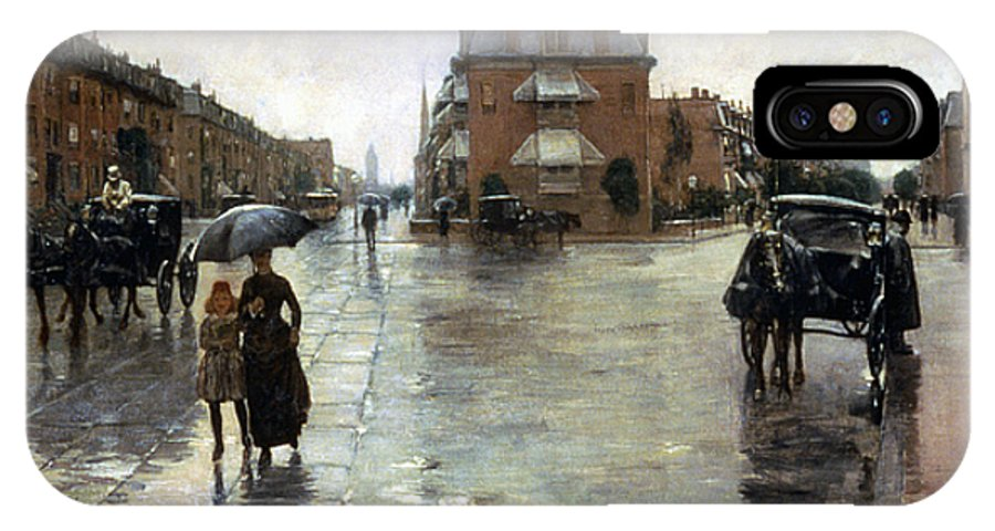 1885 IPhone X / XS Case featuring the photograph Hassam: Rainy Boston, 1885 by Granger