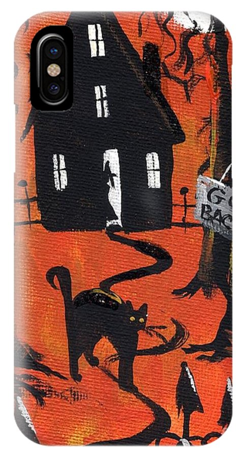 Black Cat IPhone X Case featuring the painting Haunted Forest by Sylvia Pimental