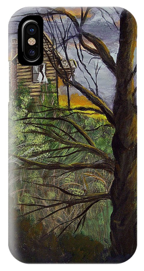 House IPhone X Case featuring the painting Haunted House by Quwatha Valentine