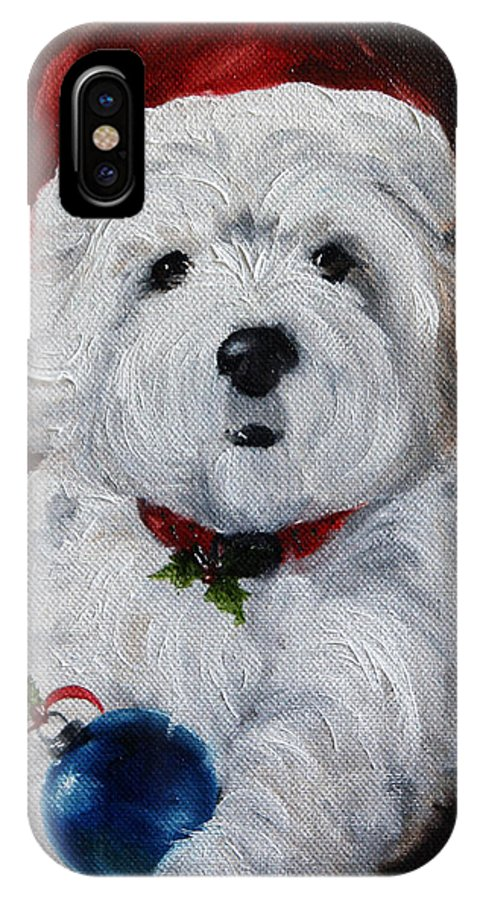 Art IPhone X / XS Case featuring the painting Have Yourself A Merry Little Christmas by Mary Sparrow