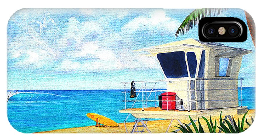 Hawaii IPhone X Case featuring the painting Hawaii North Shore Banzai Pipeline by Jerome Stumphauzer