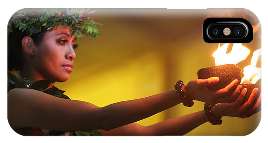 Fire IPhone Case featuring the photograph Hawaiian Dancer And Firepots by Nadine Rippelmeyer